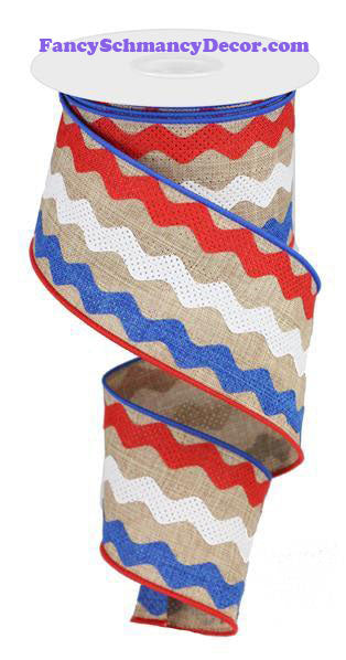 "2.5"" X 10 yd Ricrac Stripes Lt Tan Red White and Blue Wired Ribbon"
