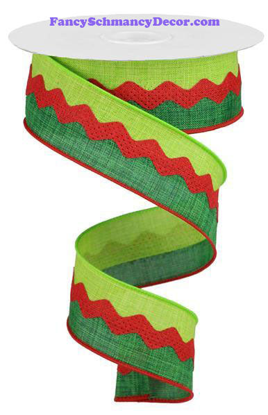 "1.5"" X 10 yd 2-In-1 Emerald Lime Red Ricrac On Royal Burlap Wired Ribbon"
