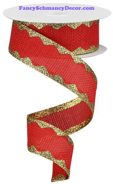"1.5"" X 10 yd Cross Royal/Ric Rac Red Gold Wired Ribbon"