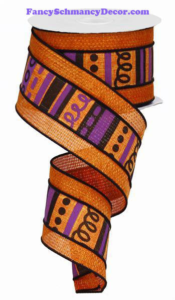 "2.5"" X 10 yd Loopy Stripes W/Cross Bars Orange Purple Black Wired Ribbon"