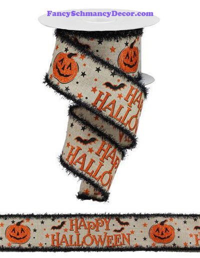 "2.5"" X 10 yd Happy Halloween Natural Orange Black On Royal Wired Ribbon"