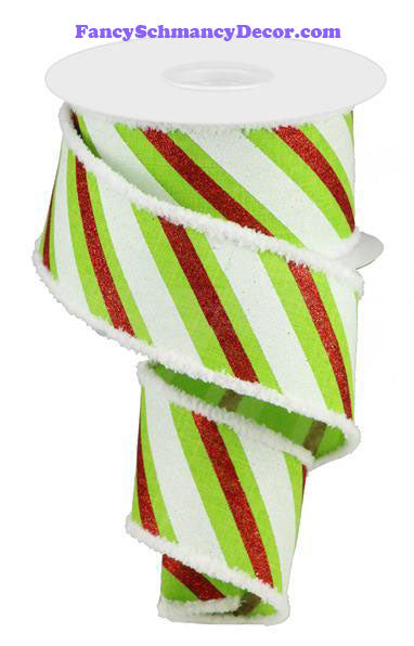 "2.5"" X 10 yd Diagonal Glitter Stripe Wired Ribbon"