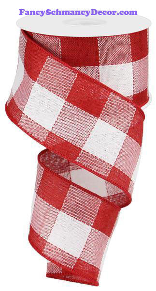 "2.5"" X 10 yd Woven Check Red White Wired Ribbon"