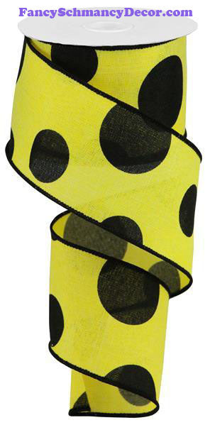 "2.5"" X 10 yd Yellow Black Giant Multi Dot Linen Ribbon"