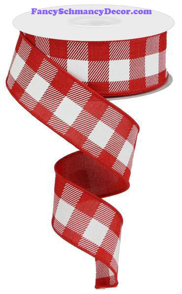 "1.5"" X 10 yd Red White Plaid Check Wired Ribbon"