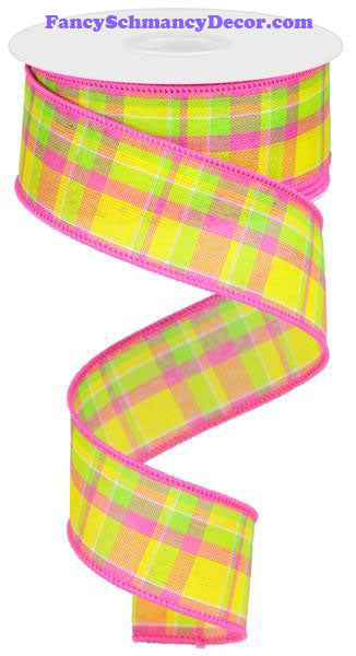 "1.5"" X 10 yd Woven Check Yellow Hot Pink Lime Wired Ribbon"