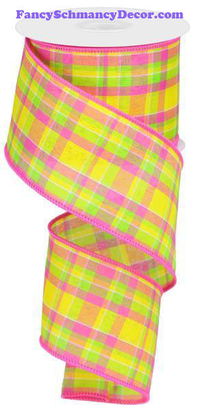 "2.5"" X 10 yd Woven Check Yellow Hot Pink Lime Wired Ribbon"