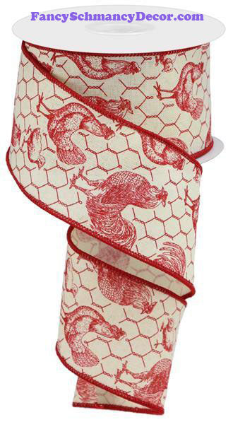 "2.5"" X 10 yd Rooster Chicken Wire Royal Red Cream Ribbon"