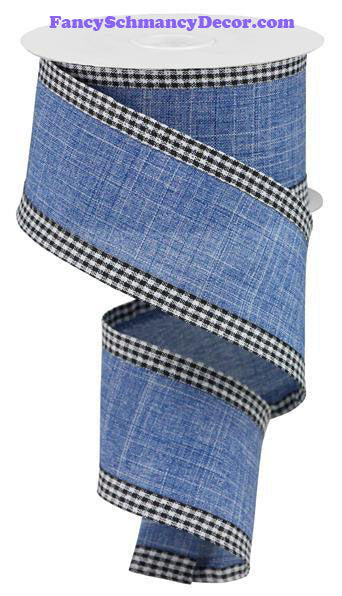 "2.5"" X 10 yd Royal Burlap Gingham Edge Denim Black White Wired Ribbon"