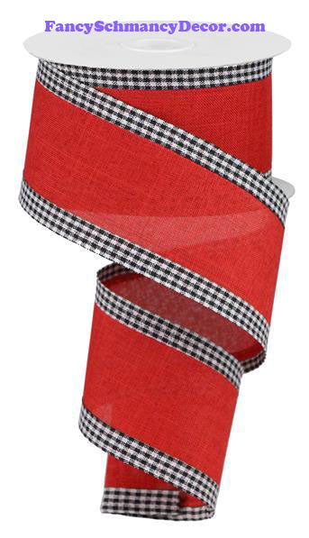 "2.5"" X 10 yd Royal Burlap Gingham Edge Red Black White Wired Ribbon"