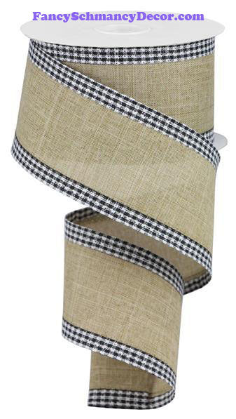 "2.5"" X 10 yd Royal Burlap Gingham Edge Lt Beige Black White Wired Ribbon"