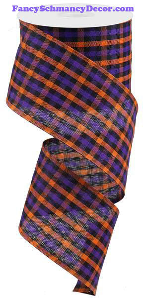 "2.5"" X 10 yd Woven Gingham Check Orange Purple Black Wired Ribbon"