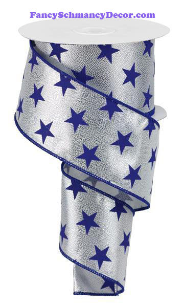 "2.5"" X 10 yd Silver Navy Blue Stars On Metallic  Wired Ribbon"