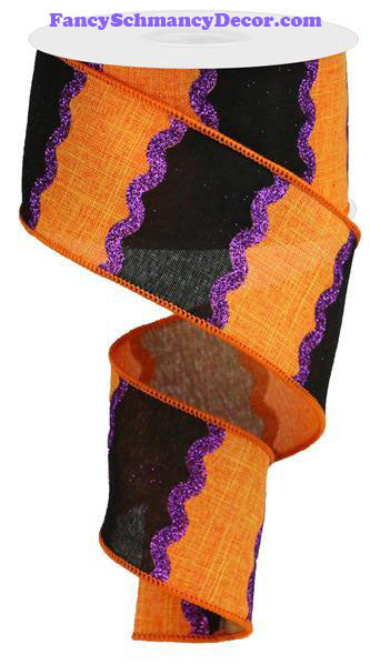 "2.5"" X 10 yd Wavy Stripes On Royal Orange Black Dark Purple Wired Ribbon"