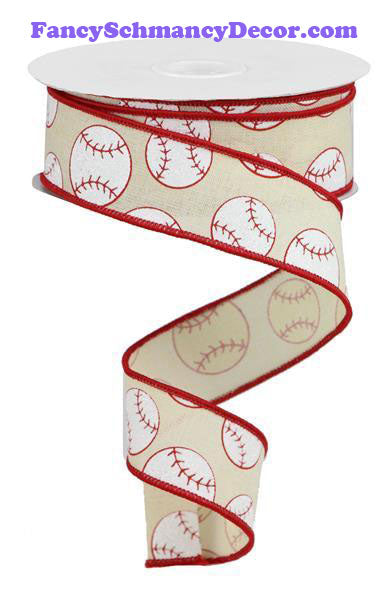 "1.5"" X 10 yd Glitter Cream Red White Baseball On Royal Wired Ribbon"