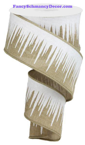 "2.5"" X 10 yd Icicles On Royal Lt. Beige White Silver Wired Ribbon"