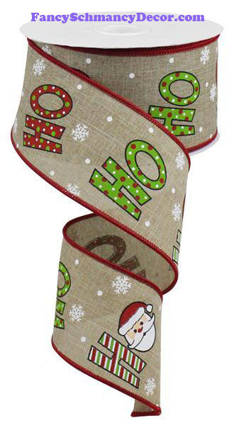 "2.5"" X 10 yd Ho Ho Ho On Royal Beige White Cream Red Lime Wired Ribbon"