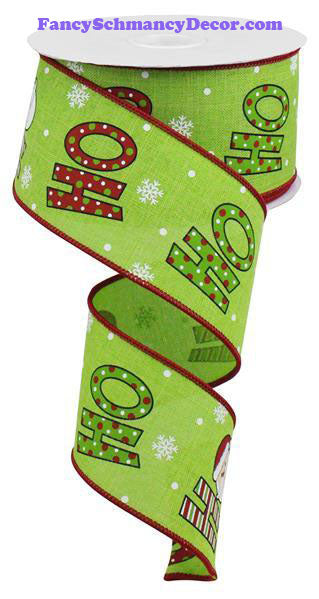 "2.5"" X 10 yd Ho Ho Lime White Cream Red On Royal Wired Ribbon"