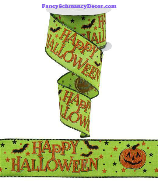 "2.5"" X 10 yd Happy Halloween Lime Orange Black On Royal Wired Ribbon"