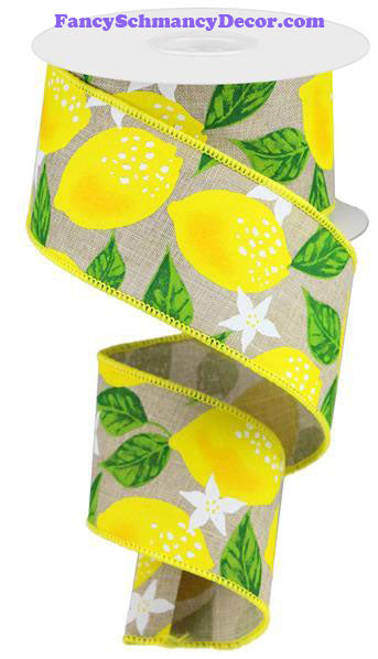"2.5"" X 10 yd Lemons On Royal Wired Ribbon"