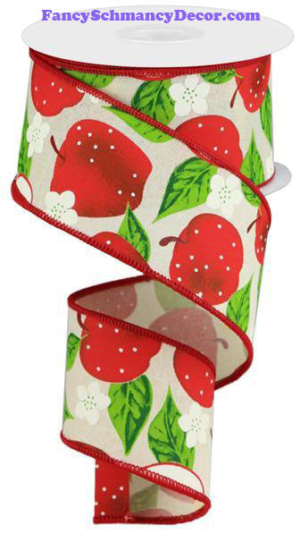 "2.5"" X 10 yd Apples Cream Red Green On Royal Wired Ribbon"
