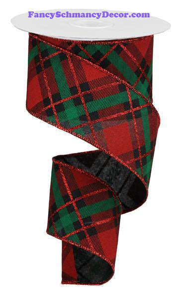 "2.5"" X10 yd Glitter Plaid Black Red Emerald On Royal Wired Ribbon"