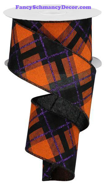 "2.5"" X 10 yd Glitter Plaid On Royal Black Purple Orange Wired Ribbon"