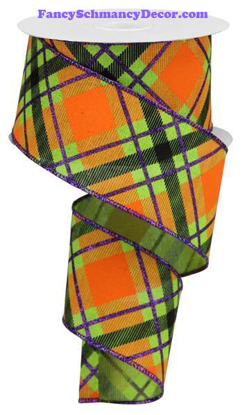 "2.5"" X 10 yd Glitter Plaid On Royal Lime/Purple/Orange Wired Ribbon"