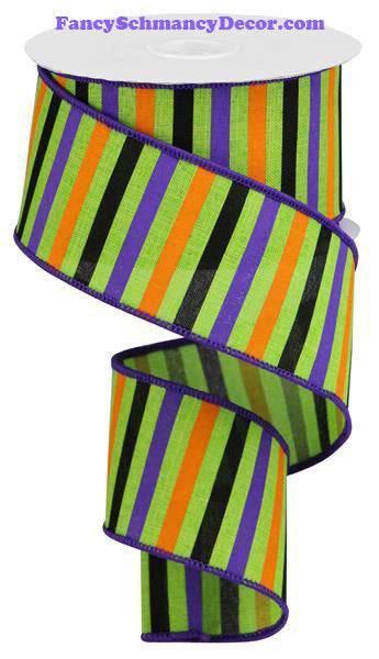 "2.5"" X 10 yd Horizontal Stripes Lime Orange Purple Black Wired Ribbon"