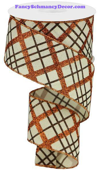 "2.5"" X 10 yd Glitter Diagonal Plaid/Royal Cream Copper Brown Wired Ribbon"