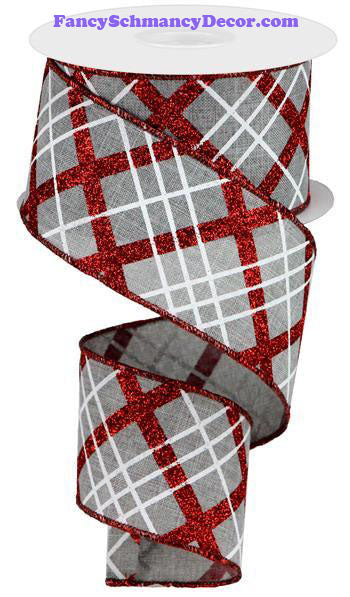 "2.5"" X 10 yd Glitter Diagonal Plaid/Royal Lt Grey Red White Wired Ribbon"