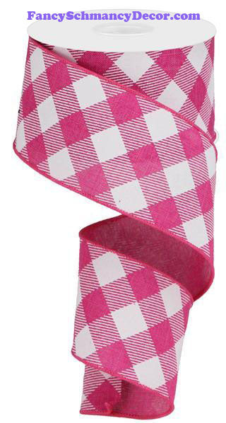 "2.5"" X 10 yd Diagonal Check On Royal Fuchsia White Wired Ribbon"