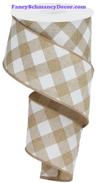 "2.5"" X 10 yd Diagonal Check On Royal Lt Tan White Wired Ribbon"