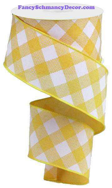 "2.5"" X 10 yd Diagonal Check On Royal Yellow White Wired Ribbon"