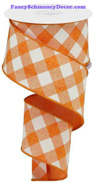 "2.5"" X 10 yd Diagonal Check On Royal Orange Ivory Wired Ribbon"