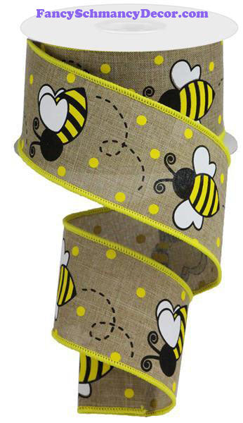 "2.5"" X 10 yd Bumble Bee Lt Beige Yellow White Black Wired Ribbon"