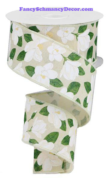 "2.5"" X 10 yd Magnolia On Royal Cream Yellow White Beige Green Wired Ribbon"
