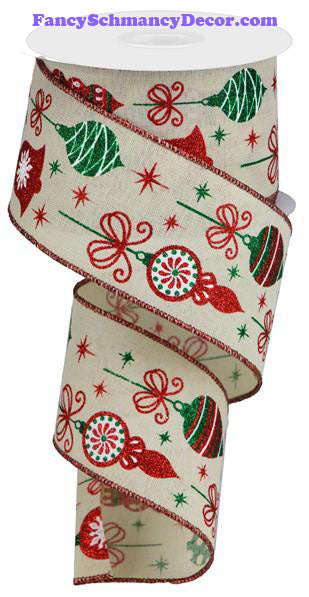 "2.5"" X 10 yd Vintage Ornaments Cream Red Green White On Royal Wired Ribbon"