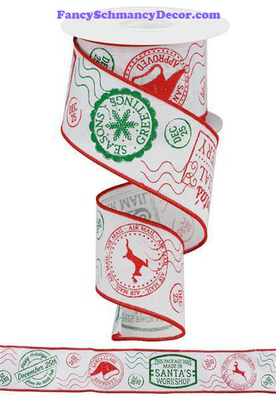 "2.5 ""X 10 yd Christmas Stamps/Royal Wired Ribbon"