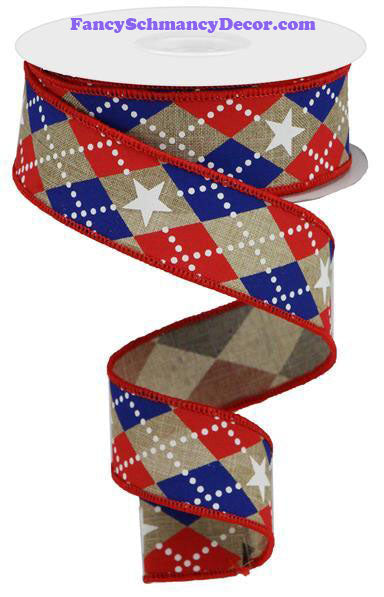 "1.5"" X 10 yd Argyle Stars On Royal Lt. Beige Red White Blue Wired Ribbon"