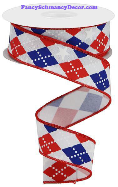 "1.5"" X 10 yd Argyle Stars On Royal Red White Blue Wired Ribbon"
