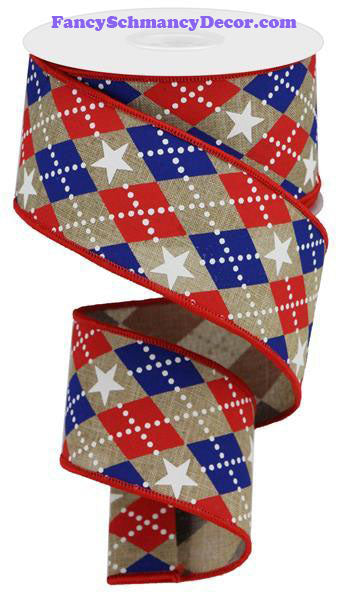 "2.5"" X 10 yd Argyle Stars On Royal Lt Beige Red White Blue Wired Ribbon"
