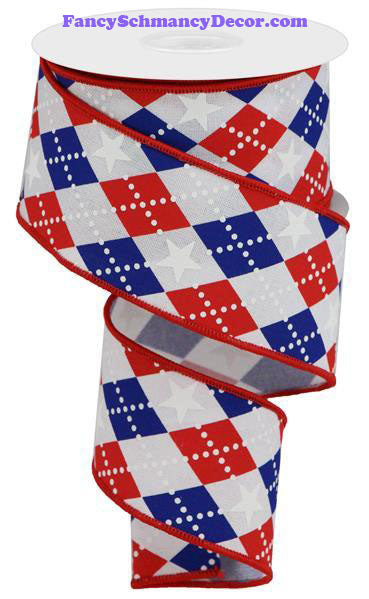 "2.5"" X 10 yd Argyle Stars On Royal Red White Blue WIred Ribbon"
