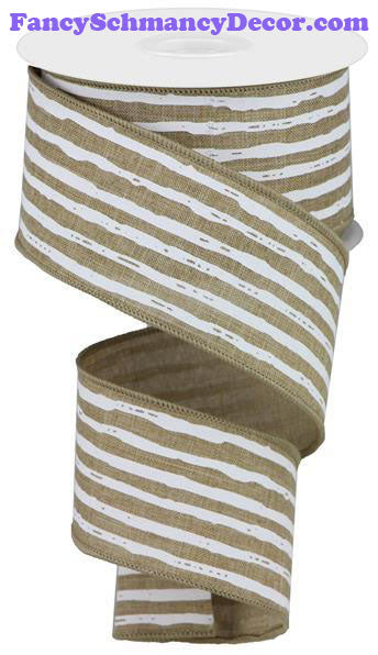 "2.5"" X 10 yd Irregular Stripes On Royal Lt Beige White Wired Ribbon"