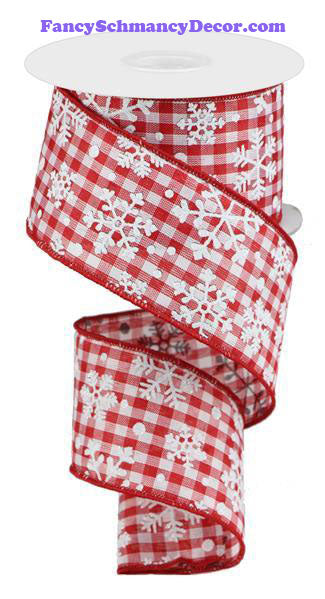 "2.5"" X 10 yd Falling Snow W/Check Red White Wired Ribbon"