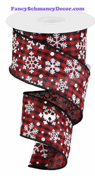 "2.5"" X 10 yd Falling Snow W/Check Wired Ribbon"