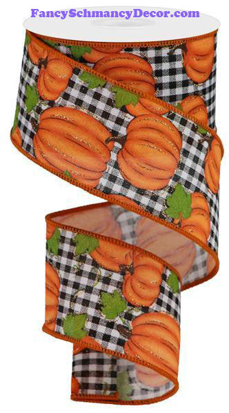"2.5"" X 10 yd Pumpkin Patch Check White Orange Moss Black Wired Ribbon"