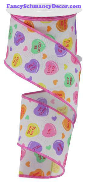"2.5"" X 10 yd Conversation Hearts On Royal Wired Ribbon"