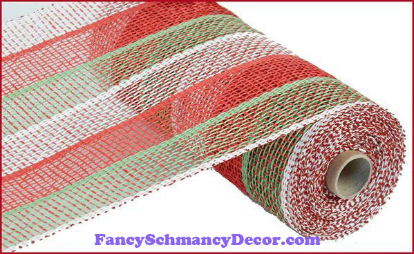 "10"" X 10 yd Poly Burlap Stripe Red White Lime Green Mesh"