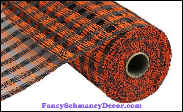 "10"" X 10 yd Poly Burlap Black & Orange Check Mesh"